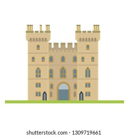 Flat design isolated vector icon of Windsor Castle, Berkshire, United Kingdom