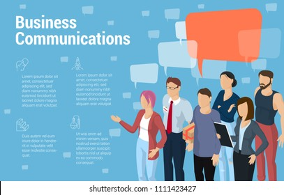 Flat design isometric diverse people opinion vector presentation and infographic template. Men and women office formal and casual style demonstrating speech bubble.