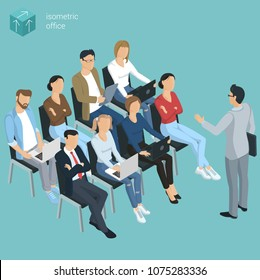 Flat design isometric vector illustration of personnel training. Business employee  coaching  presentation template.