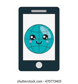 flat design kawaii cellphone icon vector illustration
