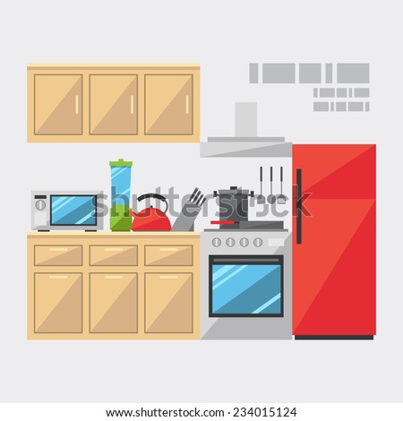 Flat Design Kitchen Interior Illustration Vector Stock Vector