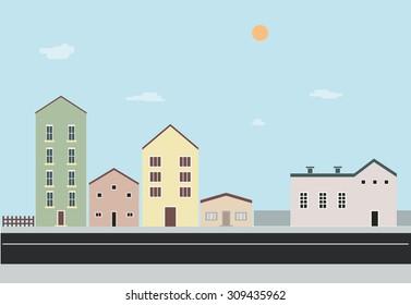 Flat Design Landscape Buildings Vector
