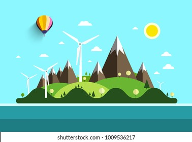Flat Design Landscape. Island in Ocean. Vector Nature Scene with Hills and Mountains with Windmills.