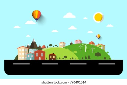 Flat Design Landscape with Street. Vector.