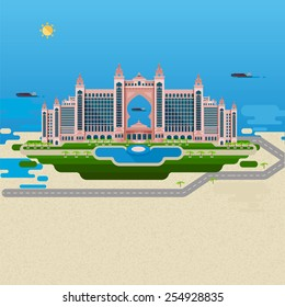 Flat design landscape. Vector image of the hotel for a summer holiday, with elements of the pool and park for walking