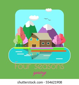 Flat design landscape.Four seasons-spring