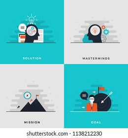 Flat Design Leadership Concept Set.  Human Head Thinking and Generating Idea, Solution. Masterminds. Brain with Bright Idea. Mission and Achievement