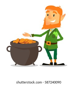 flat design  leprechaun character on St Patrick's Day with red beard, pot of gold and smile