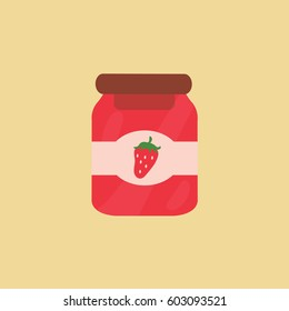 flat design with a light brown background with one single can fruit illustration or tasty transparent jar with strawberry clean modern jam Vector isolated & label