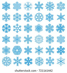 Flat design line snowflakes vector Christmas and new year decoration element set.