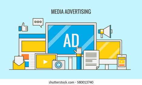 Flat design line vector of on-line advertising, social media marketing, paid advertising and offline media isolated on light background