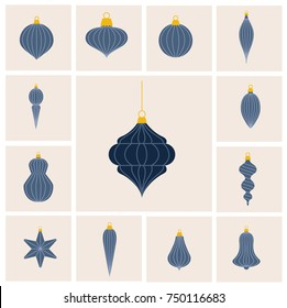 Flat design lined Christmas baubles set in blue and gray colors. Very stylish, different shapes. Ideal for cards web and greetings