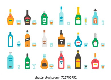 Flat design liquor bottles and glasses illustration vector