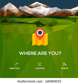 Flat design location icon icon with pin pointer, vector illustration.