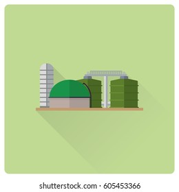 flat design long shadow bio mass power plant buildings vector illustration