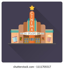 flat design long shadow cinema building vector illustration