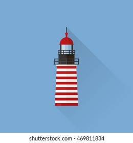 Flat design long shadow lighthouse icon on blue background