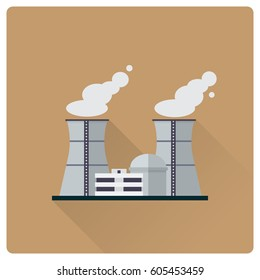 flat design long shadow nuclear power plant buildings vector illustration