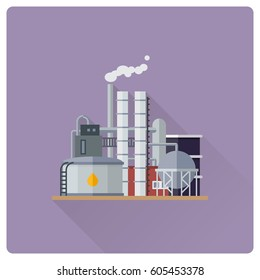 flat design long shadow oil refinery building vector illustration