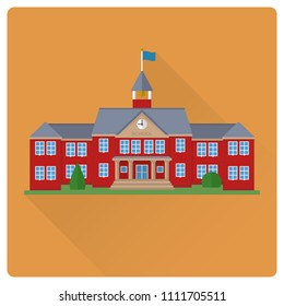 flat design long shadow school house building vector illustration