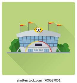 flat design long shadow soccer stadium building vector illustration