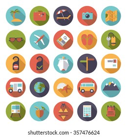 Flat Design Long Shadow Travel and Vacation Round Icon Set. Collection of tourism and  vacation vector symbols in circles