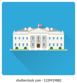 Flat design long shadow vector illustration of The White House at Washington, DC