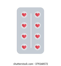Flat design love pills. Pills in the shape of a heart in a blister pack.
