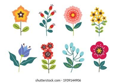 Flat design lovely spring flower set Vector illustration.