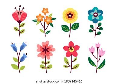 Flat design lovely spring flower collection Vector illustration.