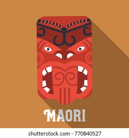 Flat design, Maori mask icon