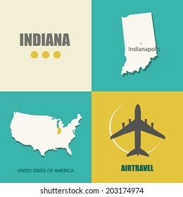 flat design with map Indiana concept for air travel