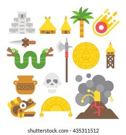 Flat design mayan items set illustration vector