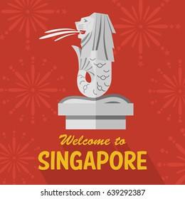 Flat design Merlion, Singapore, Vector Illustration