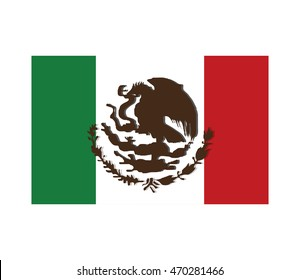 flat design mexican flag icon vector illustration