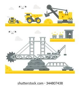 Flat design mining site equipment illustration vector