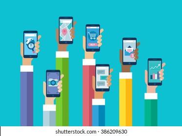 Flat design mobile phone apps. Hands holding smart phones. Browser, camera, map, shop, messaging, email.