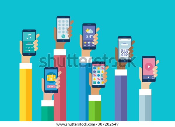 Flat Design Mobile Phone Apps Hands Stock Vector (Royalty Free