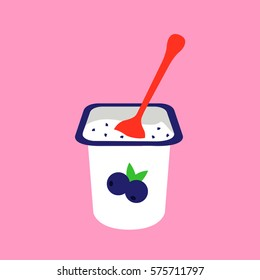 flat design & modern blueberries yogurt in open plastic cup and one spoon in the creamy ,yogurt with fruit, illustration on a pink background