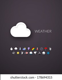 Flat design modern of brand identity style, web and mobile design, design element objects and collection, vector illustration icons set 23 - weather collection