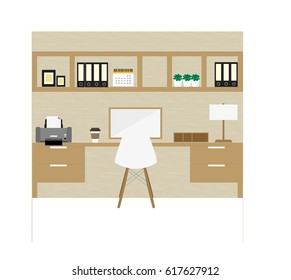 Flat design of modern home office interior