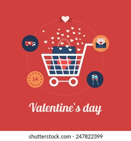 Flat design modern icons vector illustration set of online shopping and mobile marketing on Valentine's Day. Vector illustration