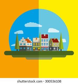 Flat design modern illustration icon of landscape. Building icon