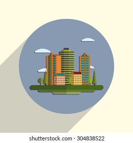 Flat design modern illustration icon of urban landscape and city life. Building icon.