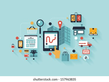 Flat design modern vector illustration infographic concept of purchasing product via internet, mobile shopping communication and delivery service. Isolated on colored stylish background.
