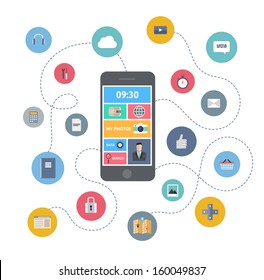 Flat design modern vector illustration infographic concept of variety using of smartphone with lots of multimedia icons and stylish mobile user interface on the phone. Isolated on white background.