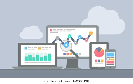Flat design modern vector illustration concept of website analytics search information and computing data analysis using modern electronic and mobile devices. Isolated on stylish grey background