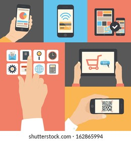 Flat design modern vector illustration icons in stylish colors of hand touch screen with business icons, mobile phone scanning qr-code, online purchase on digital tablet and wireless e-commerce usage.