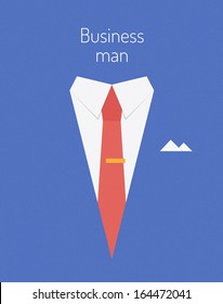 Flat design modern vector illustration poster concept of businessman suit with sample text symbolizing success leader person. Isolated on stylish color background.