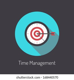 Flat design modern vector illustration poster concept of time management planning process and business metaphor time is money. Isolated on black background.